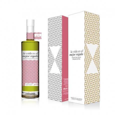 Gama Regala Vida 350 ml y estuche. Aceite de Oliva Virgen Extra Premium. Variedad Picual.